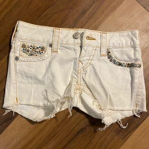 True Religion White Jean Shorts